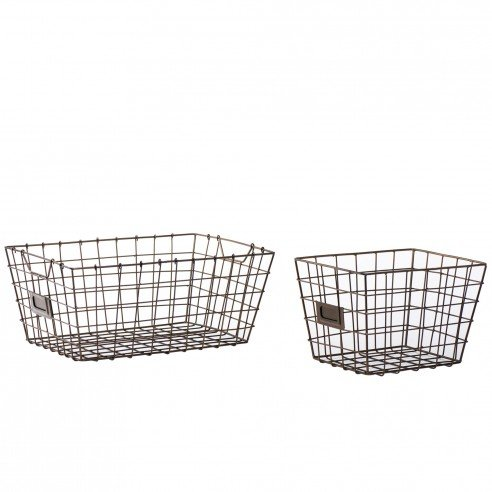 1FABULIV Wire Basket With Card Holder set of 2