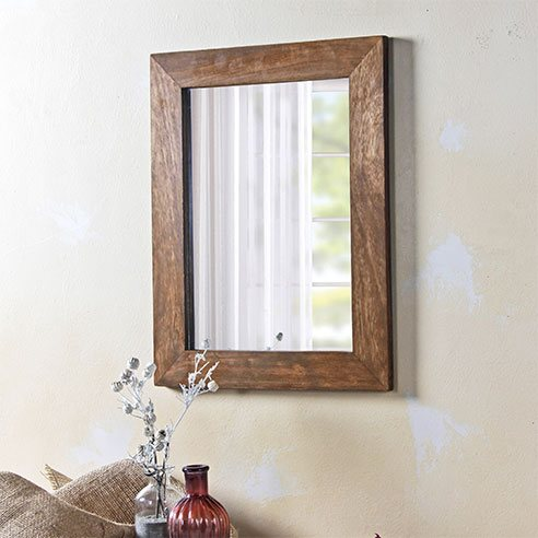 Solid Wood Dark Bathroom Mirror