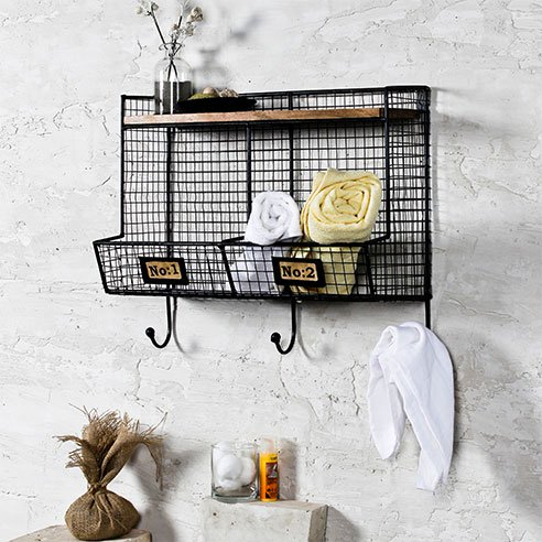 Modern Industrial Black Bath Wall Shelf