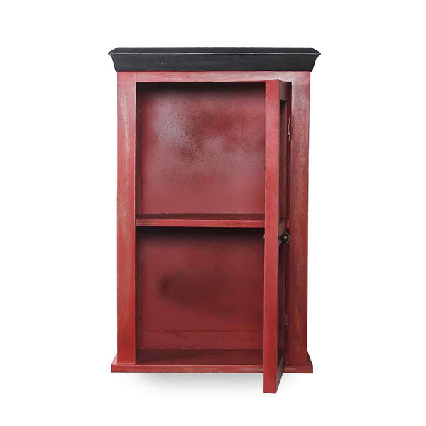 Solid Wood Vintage Red Bathroom Cabinet 4