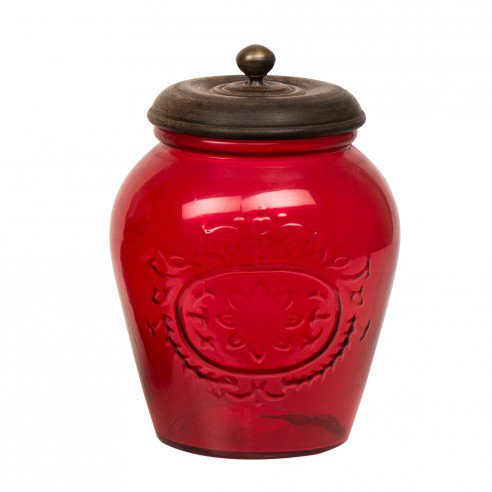 Alicia Red Glass Container Large 1
