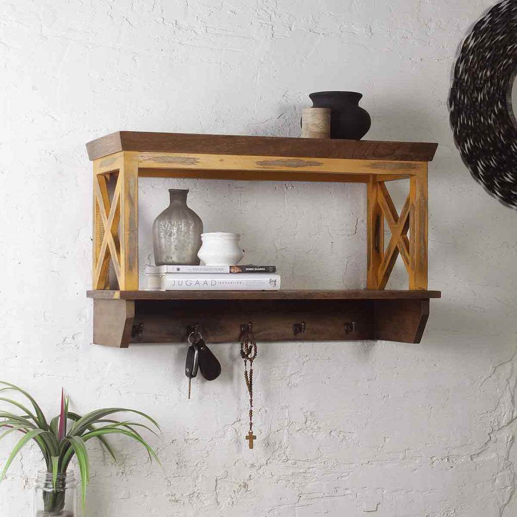Alonza Solid Wood Distress Yellow Wall Shelve with hooks 1