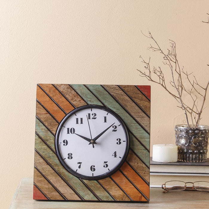 Elmira Wood 9 Square Table Clock