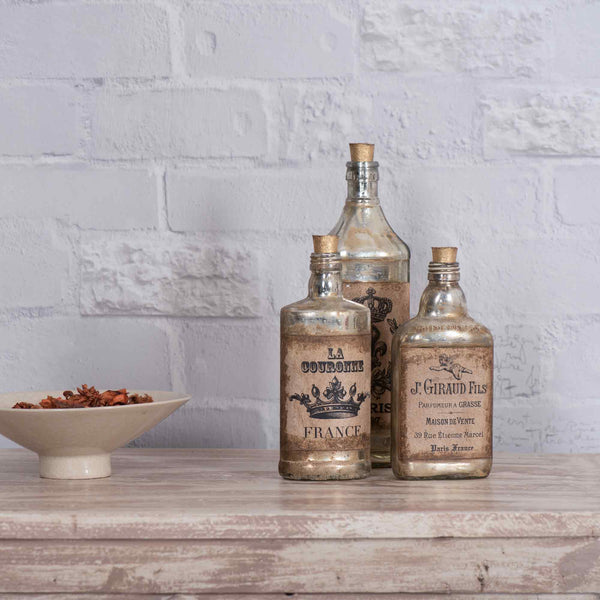 Edwin Vintage Style Antique Gold Decorative Bottles Set Of 3