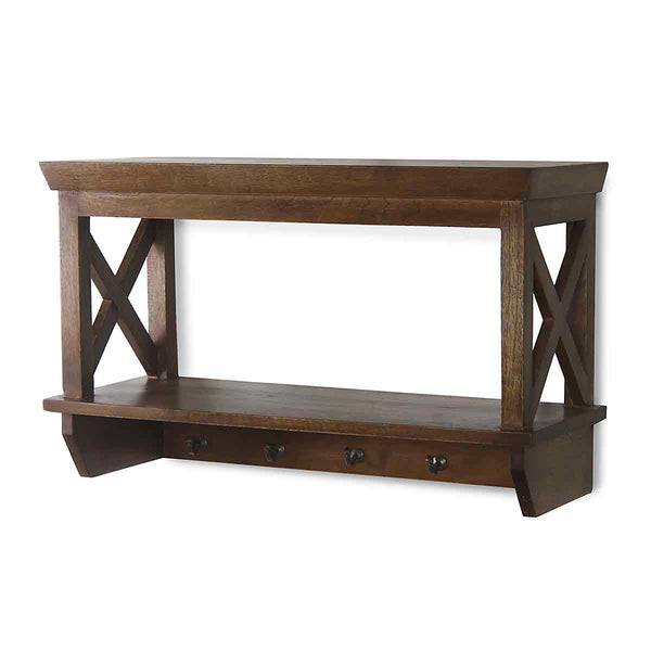Alonza Solid Wood Wall Shelve with hooks 3