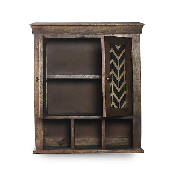 Alfredo Solid Wood Hand Painted Wall Shelve Double Door 3