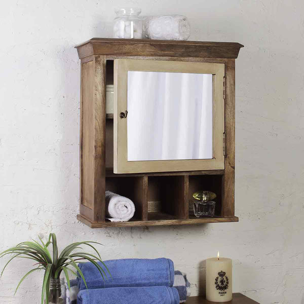 Solid Wood Vintage White Bathroom Cabinet with Mirror 1