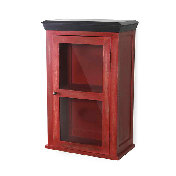 Solid Wood Vintage Red Bathroom Cabinet 3