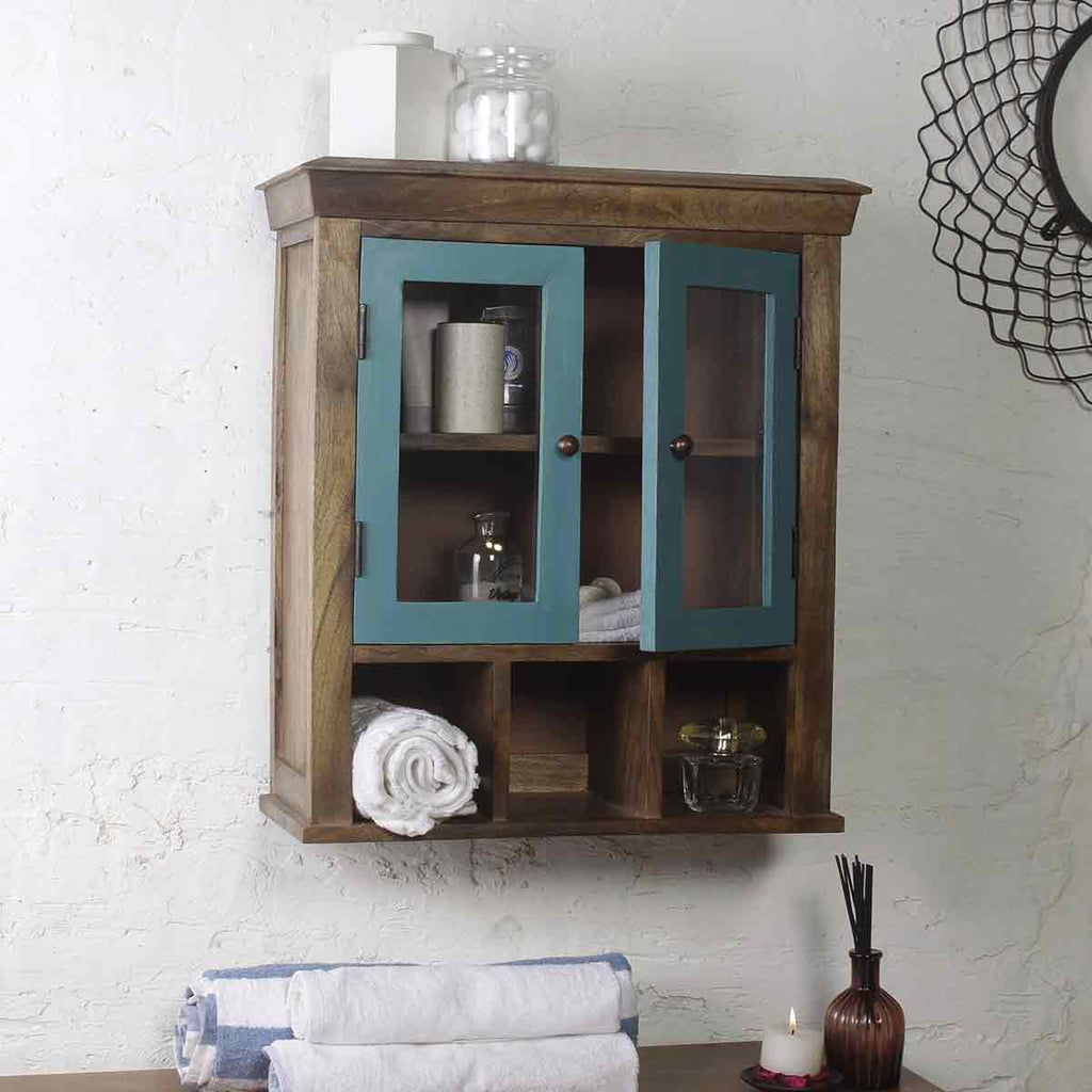 Solid Wood Vintage Blue Double Door Bathroom Cabinet 1