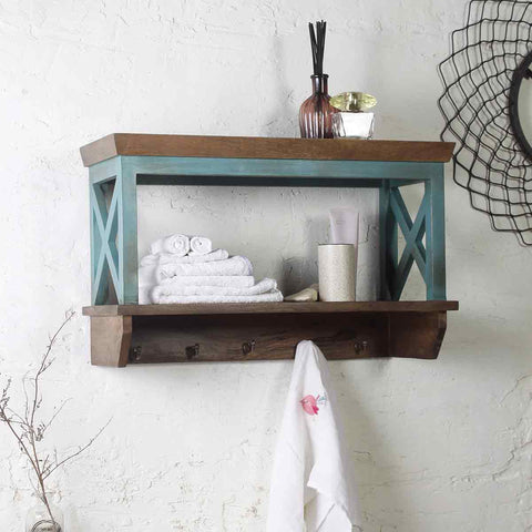 Solid Wood Vintage Blue Bathroom Shelves 1