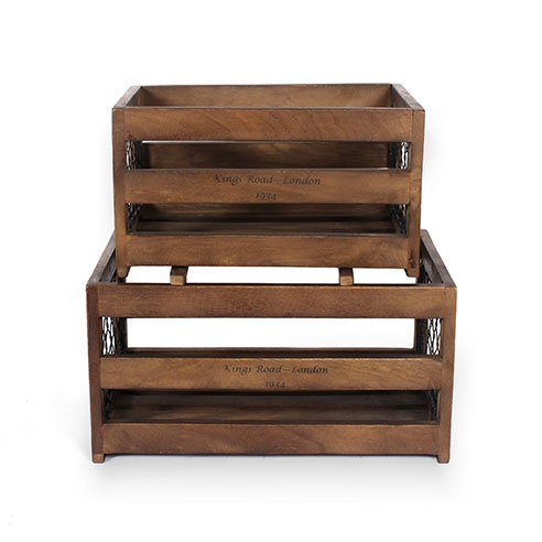 Roso white set of 2 wooden crates6