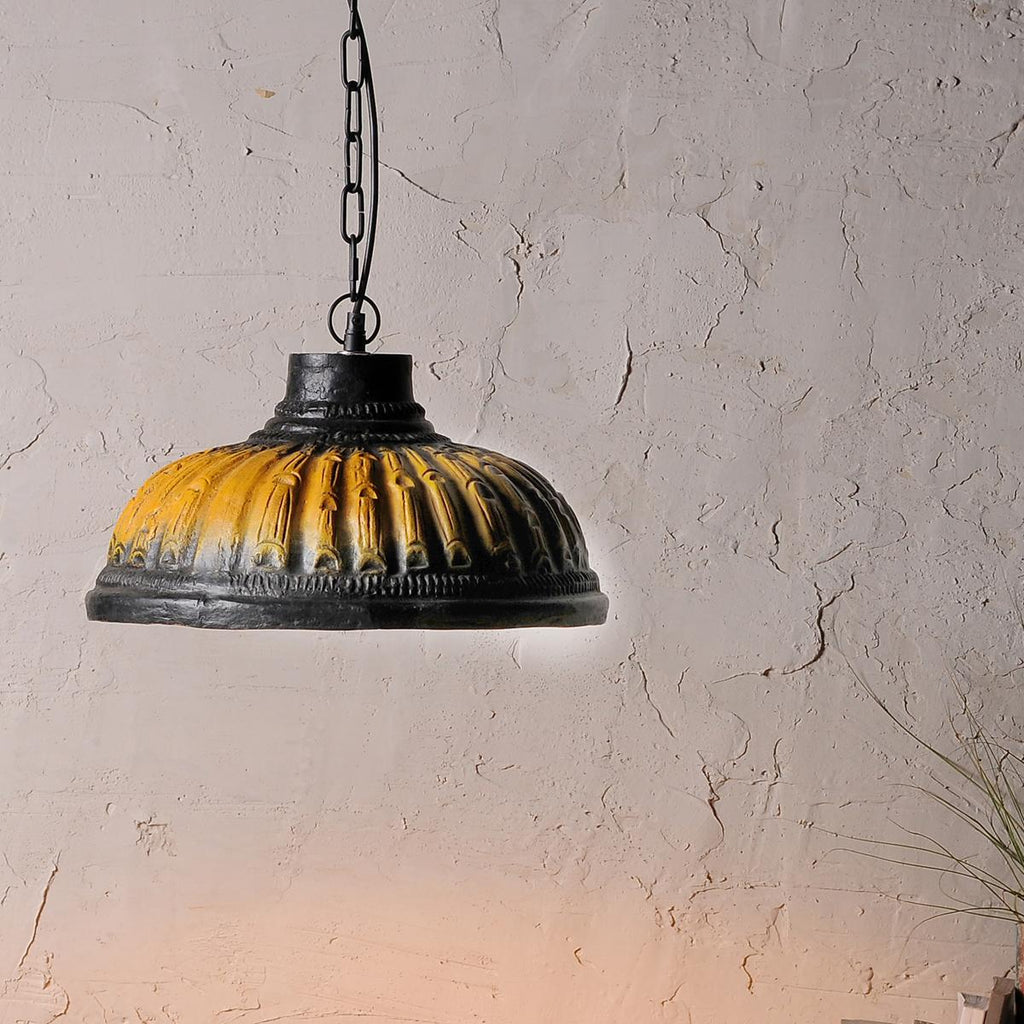 Vintage Yellow Terracotta Pendant Lamp