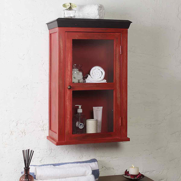 Solid Wood Vintage Red Bathroom Cabinet 1