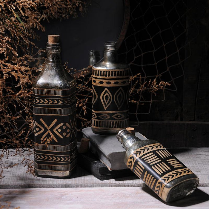 Bohemian style Set of 3  Decorative Bottles