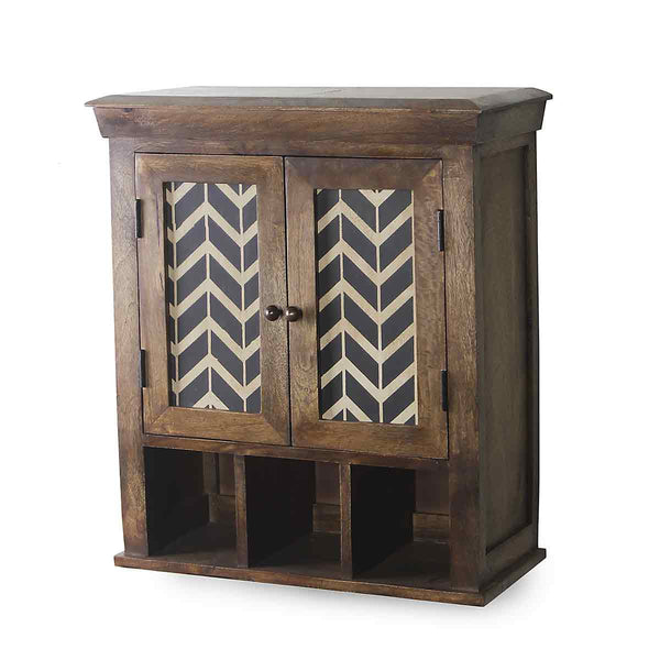 Alfredo Solid Wood Hand Painted Wall Shelve Double Door 4