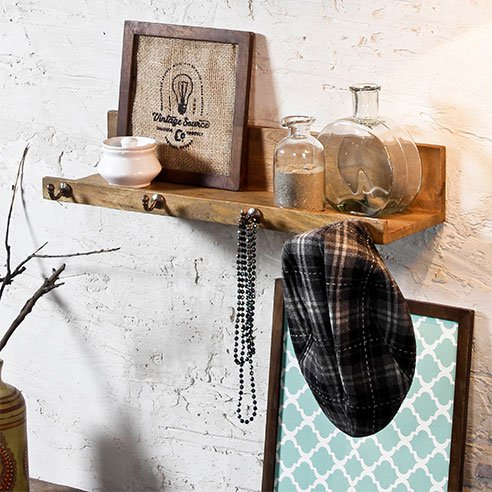 Jamie Camel Wall Shelf with Hooks