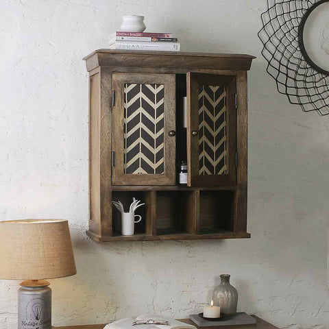 Alfredo Solid Wood Hand Painted Wall Shelve Double Door 1