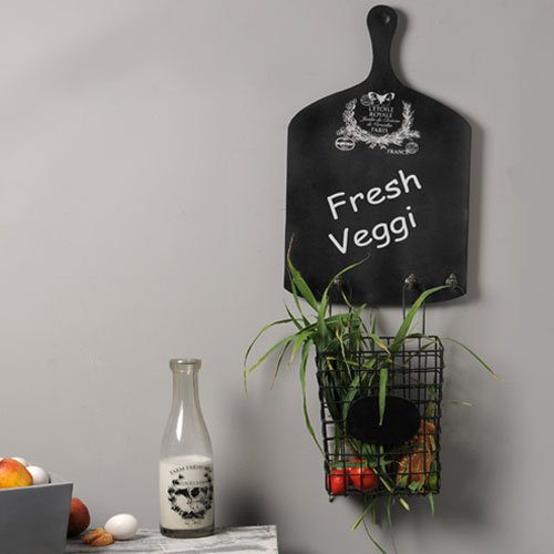 French Vintage Chalkboard with wire Basket