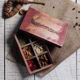 Distress red wooden box with 6 compartments
