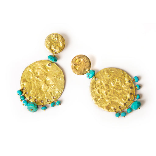 Coin Earrings with Turquoises