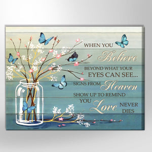 Zalooo When You Believe Butterfly Wall Art Canvas