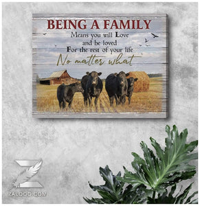 Zalooo Being a family Cow Wall Art Canvas - Zalooo.com Custom Wall Art Canvas