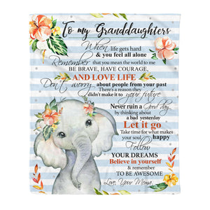 Fleece Blanket - ELEPHANT -GRANDDAUGHTERS (Mema) - Remember to be awesome - yenyenstore
