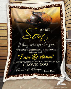 Blanket - Baseball - To My Son - I Love You