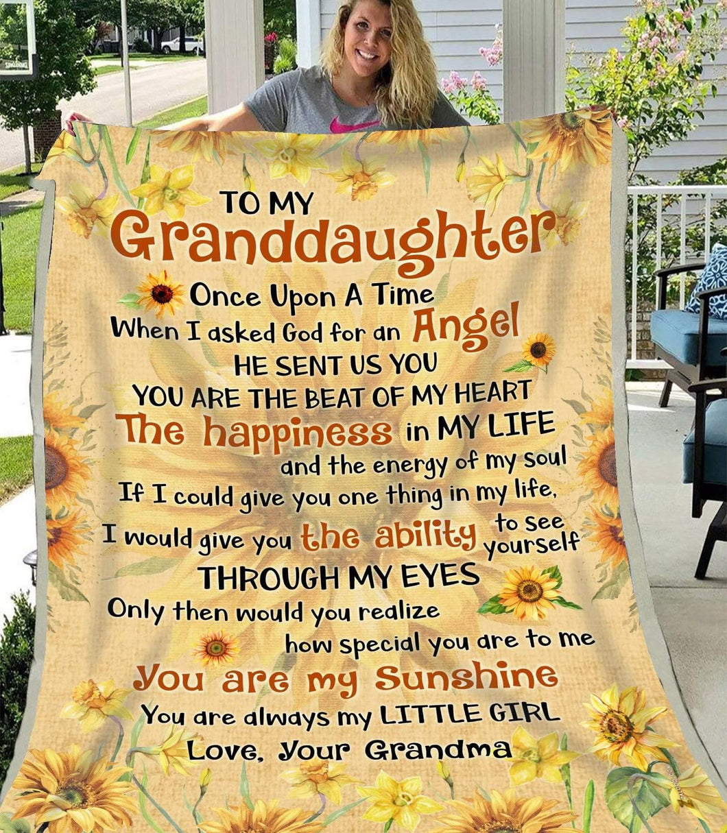 Blanket To my Granddaughter I asked God - Zalooo.com Custom Wall Art Canvas