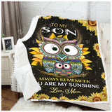Blanket - Owl - To My Son - My Sunshine
