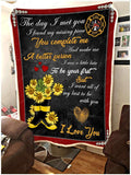 Blanket - Firefighter - To my wife - Flower Boots