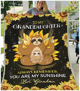 Blanket Sloth To My Granddaughter My Sunshine