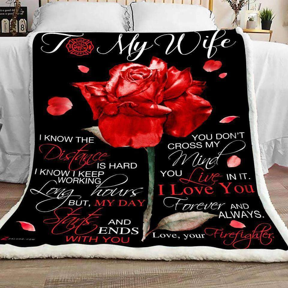 Blanket - Firefighter - To my wife - I know - yenyenstore