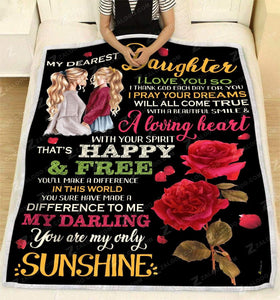 Blanket To My Dearest Daughter Happy and free (Rose) - Zalooo.com Custom Wall Art Canvas