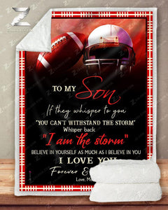 Football Blanket - To My Son - I Love You(Red)