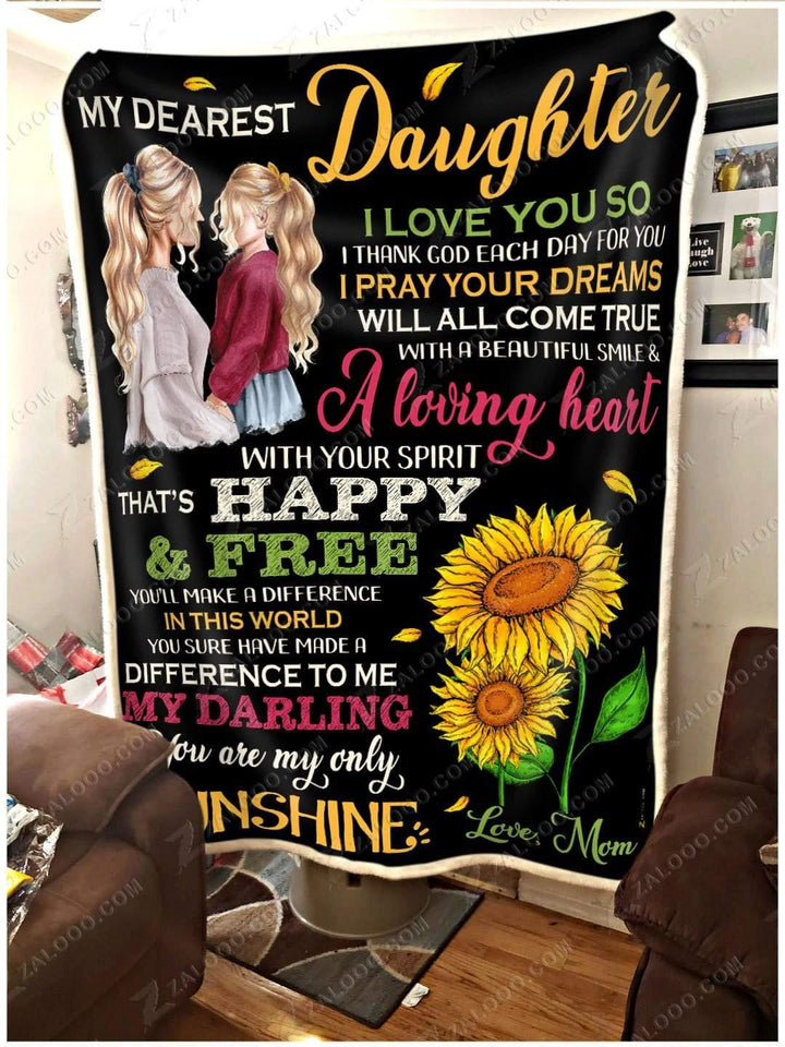 Blanket To My Dearest Daughter Happy and free - Zalooo.com Custom Wall Art Canvas