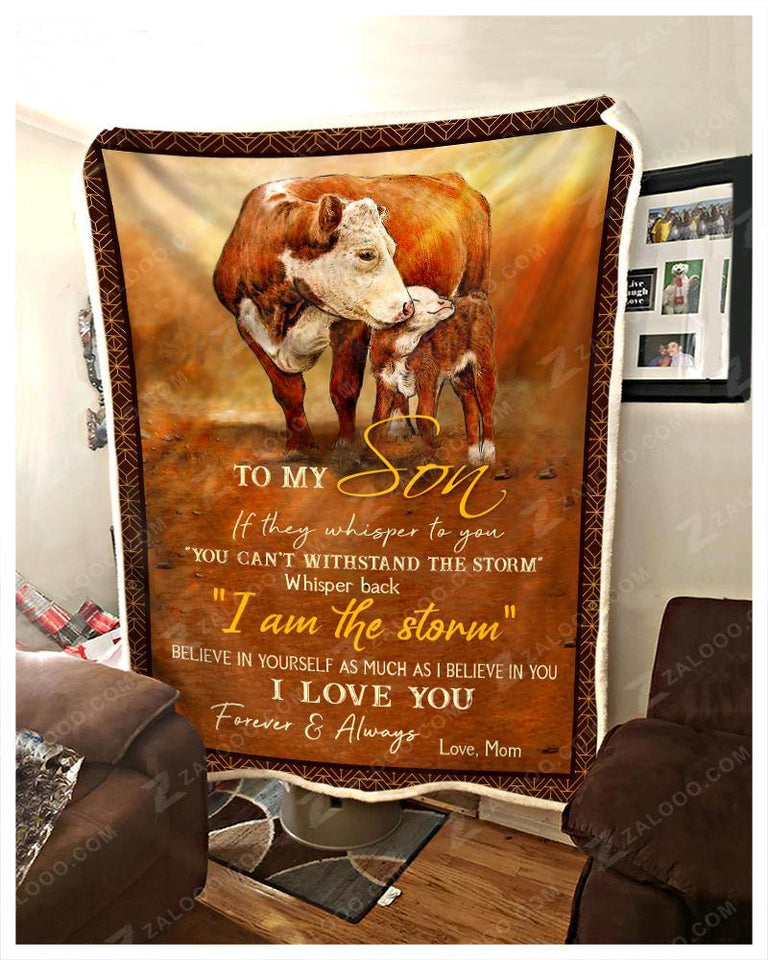 Blanket - Cow - To My Son - Love Mom