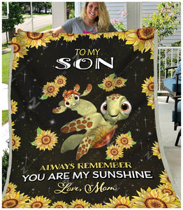 Blanket - Turtle - To My Son - My Sunshine