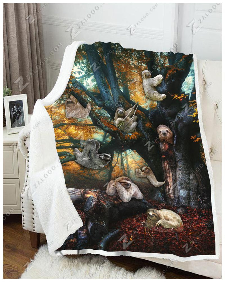 Blanket Sloth Sloth Family - Zalooo.com Custom Wall Art Canvas