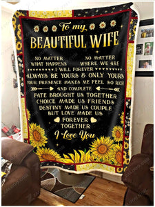 Blanket To My Beautiful Wife No matter what happens - Zalooo.com Custom Wall Art Canvas