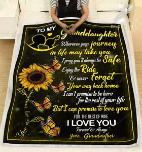 Blanket To my granddaughter Butterfly - Zalooo.com Custom Wall Art Canvas
