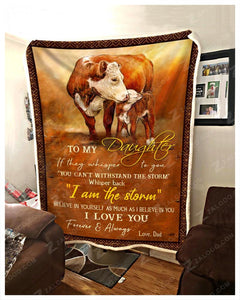 Blanket Cow To My Daughter I Love You - Zalooo.com Custom Wall Art Canvas