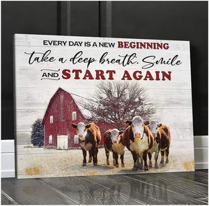 Zalooo New Beginning Cow Wall Art Canvas Christmas Wall Art Canvas