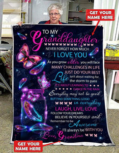 Blanket - Butterfly - To my granddaughter - Find something good in every day