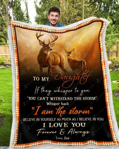 Blanket Deer To My Daughter I Love You(Dad) - Zalooo.com Custom Wall Art Canvas