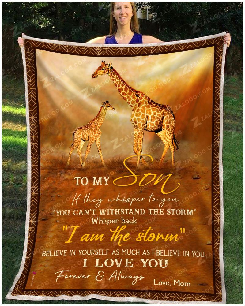 Blanket Giraffe To My Son Love Mom