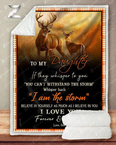 Blanket Deer To My Daughter I Love You(Dad)