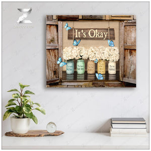 Zalooo It's Okay Window Flowers Butterfly Canvas Wall Art Decor