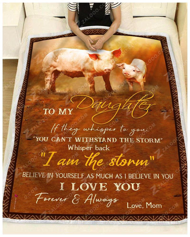 Blanket - Pig - To My Daughter - Love Mom