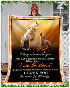 Blanket - Wolf - To My Son - I Love You